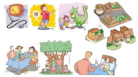 illustrazioni per opuscoli informativi (tecniche varie)