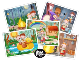 "Illustrations selection from ""Hansel and Gretel"" app (a Milkbook production)"